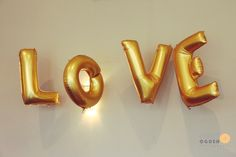 Large Gold Love Balloons