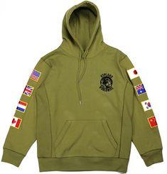 b58004243a2d WORLDWIDE FLAG HOODIE (OLIVE)