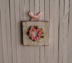 Miniature Shabby Chic Pink Rose Wall Hanging by LittleThingsByAnna, $7.00
