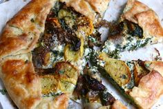 Galette with Roasted Squash, Kale, and Ricotta. Zucchini is used here, but you can use any squash you like; butternut, acorn, yellow, etc.