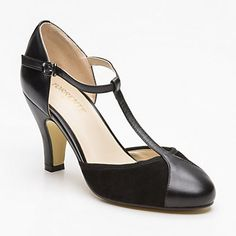 Zapatos de tacón Aster, ante y cuero negro tacón: 8 cm