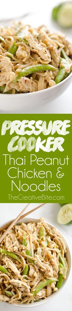 Pressure Cooker Thai Peanut Chicken & Noodles is the best Pressure Cooker recipe you will make! Lean chicken breasts are cooked in a homemade spicy Thai peanut sauce and finished off with rice noodles and peas for an easy and healthy one-pot meal made in your Instant Pot. #InstantPot #PressureCooker #Chicken