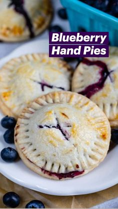 Blueberry Hand Pies Recipe, Homemade Blueberry Pie, Homemade Desserts, Blueberry Ideas, Blueberry Scones, Fruit Recipes, Pie Recipes, Dessert Recipes, Single Serve Desserts