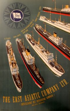 The East Asiatic Company Shipping Line, 1950s - original vintage poster by Sten Heifmann Klausen listed on AntikBar.co.uk