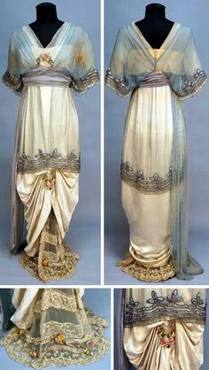 1914 evening gown. Cream satin and blue chiffon.