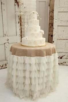 burlap and ruffles cake table