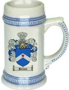 Benoit Coat of Arms / Family Crest tankard stein mug