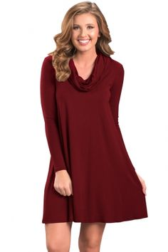 1a9eae4577 Red Cowl Neck Long Sleeve Casual Loose Swing Dress. Cheap Dresses OnlineCowl  ...