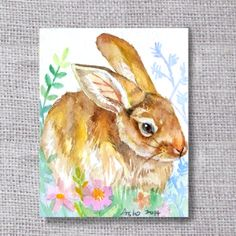ooak Original Rabbit ACEO Watercolor Painting buy 3 get 1 by asho, $4.50