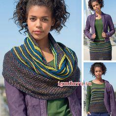 Трансформер: широкий разноцветный шарф-петля. Вязание спицами
