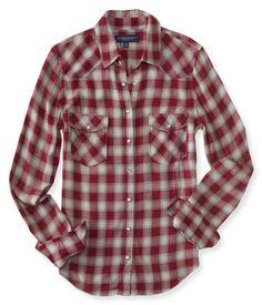 Long Sleeve Western Plaid Woven Shirt - Aeropostale