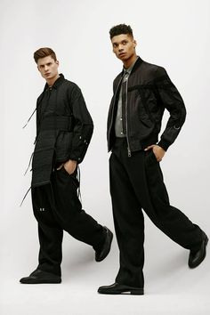 Directional labels including London's Craig Green (right) and South Korea's Wooyoungmi (far right) merge athletic and punk sensibilities in their latest collections. From left: Craig Green jacket (worn under vest), $930, vest, $1,050, Juun.J trousers $840, available through www.ssense.com. Maison Martin Margiela shoes, $845 at Harry Rosen (www.harryrosen.com). Acne Studios shirt, $390 at WANT Apothecary (www.wantapothecary.com). Wooyoungmi Paris jacket, $1,195, trousers, $535 at Holt…