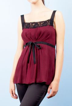 Philosophy by Alberta Ferretti Maroon Silk blouse with black lace trim and black straps