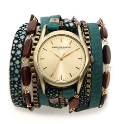 #green leather beaded wrap watch http://rstyle.me/n/h5ir5r9te