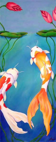 I need a good koi painting for my living room. but it has to be very specific. This one is gorgeous, but it wouldn't work. Koi Painting, Silk Painting, Wal Art, Carpe Koi, Wine And Canvas, Fish Art, Japanese Art, Japanese Dragon, Illustrations