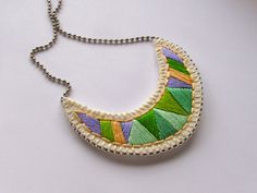 Crescent embroidered pendant necklace in pretty greens and purple tribal summer fashion. $30.00, via Etsy.