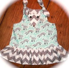 Socks the Fox Baby Girl Dress Darling Michael Miller fabric 3mo - 24mo. $37.00, via Etsy.