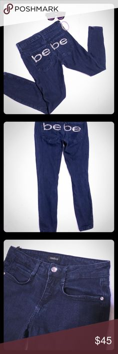 "Bebe Skinny Embellished Jeans Dark blue Bebe jeans Has Bebe in rhinestones across butt area  Waist 26"" with stretch  Inseam 25"" No flaws bebe Jeans Skinny"