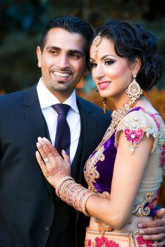 Indian Bride, Indian Wedding, Punjabi Wedding, Indian Reception, Punjabi Reception, Purple and Gold, Purple and Pink Wedding, Lengha, Bride and Groom