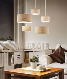 A great multi light pendant with 5 beige shades all hung at different heights with an oval ceiling plate. Sweet Home, Multi Light Pendant, Light Fittings, Interiores Design, Floating Nightstand, Pendant Lighting, Entryway Tables, Light Bulb, Modern Retro
