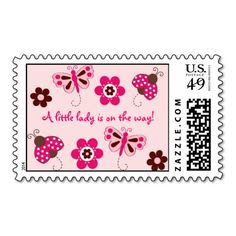 Shop Ladybug Butterfly Flower Postage Stamps created by little_prints. Make All, How To Make, Garden Baby Showers, Butterfly Flowers, Design Your Own, Postage Stamps, Ladybug, Adhesive, Envelope