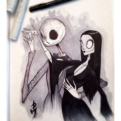 Jack and Sally as Gomez Addams and Morticia Addams by PicassoDular.com