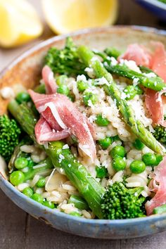 Spring Vegetable Risotto with Proscuitto - light and full of flavour! no parmesan should work as well!