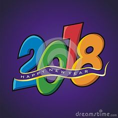 2018 Happy New Year with colorful text design vector