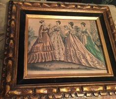Vintage Framed French Fashion Print in an Ornate wood frame with ornate rim, Suede Mat, 4 Ladies wearing French Fashion in a Garden setting.