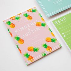 The weather is heating up and it's got us dreaming of tropical paradise Illustrated Wedding Invitations, Handmade Wedding Invitations, Birthday Invitations Kids, Baby Shower Invitations, Invitation Design, Invitation Cards, Baby Thank You Cards, 13 Birthday, Engagement Invitations