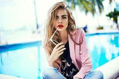 poolside fashion summer pink denim red lips blazer fashion photography