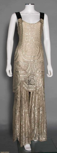 Rare Metallic Evening Jumpsuit, 1930s. For upcoming vintage and antique fashion and textile auction. #vintage #1930s