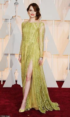 Emma Stone looked radiant in this embellished Elie Saab gown......