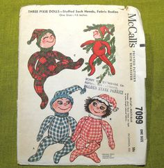 Christmas Pixie Doll Holiday Decorations Vintage Sewing Pattern McCall's 7099 Elves Elf Dolls Stuffed Sock Heads Fabric Bodies tall by SuzisCornerBoutique on Etsy Vintage Christmas Crafts, Retro Christmas, Christmas Elf, Mccalls Sewing Patterns, Vintage Sewing Patterns, Elf Doll, Embroidery Transfers, Doll Crafts, Felt Ornaments