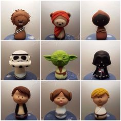 These Awesome Kokeshi Star Wars Cupcakes were made by Buns In The Oven… Star Wars Cupcakes, Star Wars Cookies, Star Wars Cake, Star Wars Gifts, Star Wars Party, Lego Star Wars, Aniversario Star Wars, Foundant, Star Wars Models