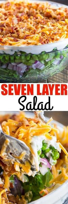 This easy Seven Layer Salad recipe is a classic Midwestern party side dish! It… This easy Seven Layer Salad recipe is a classic Midwestern party side dish! It's the ideal make-ahead salad, too. You can even make it the night before! Salad Dressing Recipes, Salad Recipes, New Recipes, Dinner Recipes, Cooking Recipes, Healthy Recipes, Healthy Food, Cucumber Recipes, Yummy Food
