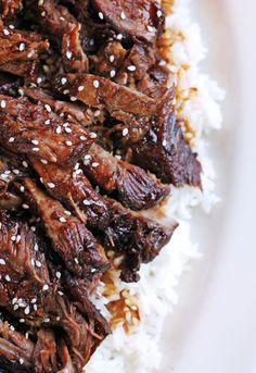 Slow Cooker Sticky Asian Lamb Recipe. A delicious tender Asian BBQ flavored dish that can be served over rice or noodles.