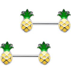 Body Candy Steel Yellow Green Pineapple Barbell Nipple Ring Set of 2 14 Gauge -- Find out more about the great product at the image link. (This is an affiliate link) Piercing Ring, Body Piercings, Piercing Ideas, Nipple Rings, Belly Rings, Aster Flower, Body Jewellery, Jewelry, Body Mods