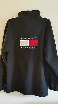 Men's Tommy Hilfiger black Fleece Jacket 1/4 Zip Pullover  xxl