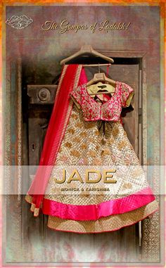 JADE's Elegant Gold Lehenga Ensemble inspired from 'Gompas of Ladakh'.