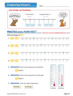 integers worksheet more master math grade math integers worksheet ...