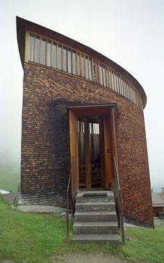 Saint Benedict Chapel. 1988. Peter Zumthor. Sumvitg, Graubünden, Switzerland