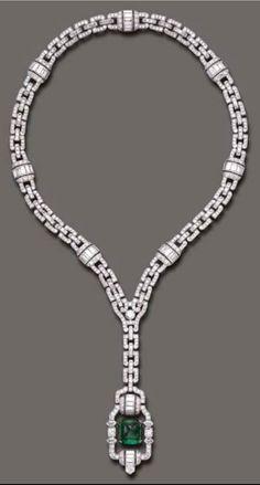 ART DECO EMERALD AND DIAMOND SAUTOIR NECKLACE