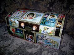 Amazing 1920's Decoupage Doll Trunk!