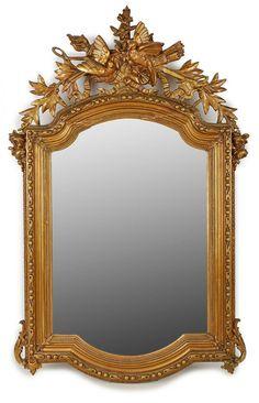 Spiegel, Louis-XVI-Stil, Frankreich 19. Jh.Hochrechteckiger Spiegel. Geschnitzte Bekrönung m. Stuck