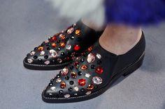 Jewel appliqué leather shoes at Marni AW14 MFW. More images at: http://www.dazeddigital.com/fashionweek/womenswear/aw14