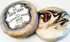 REAL coffee and cream soap! Swirled together in one round bar. Beautiful edwardian vintage label.