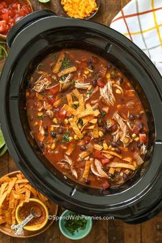 We love making this slow cooker tortilla soup recipe during the week. It's a fun tex mex dinner! #spendwithpennies #chickentortillasoup #slowcookerchickentortillasoup #crockpot #soup #easysoup #tortillasoup Slow Cooker Tortilla Soup, Creamy Chicken Tortilla Soup, Slow Cooker Soup, Slow Cooker Chicken, Slow Cooker Recipes, Crockpot Recipes, Cooking Recipes, Sopa Tortilla, Tortilla Recipes