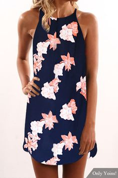 Navy Random Floral Print Sleeveless Dress