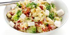 Broccolistamppot met ham, tomaat en feta